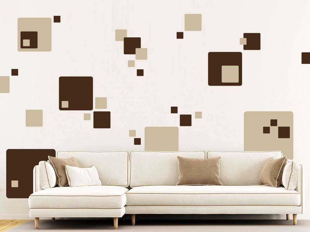 Wandtattoo Cube Set mehrfarbig im Wohnzimmer