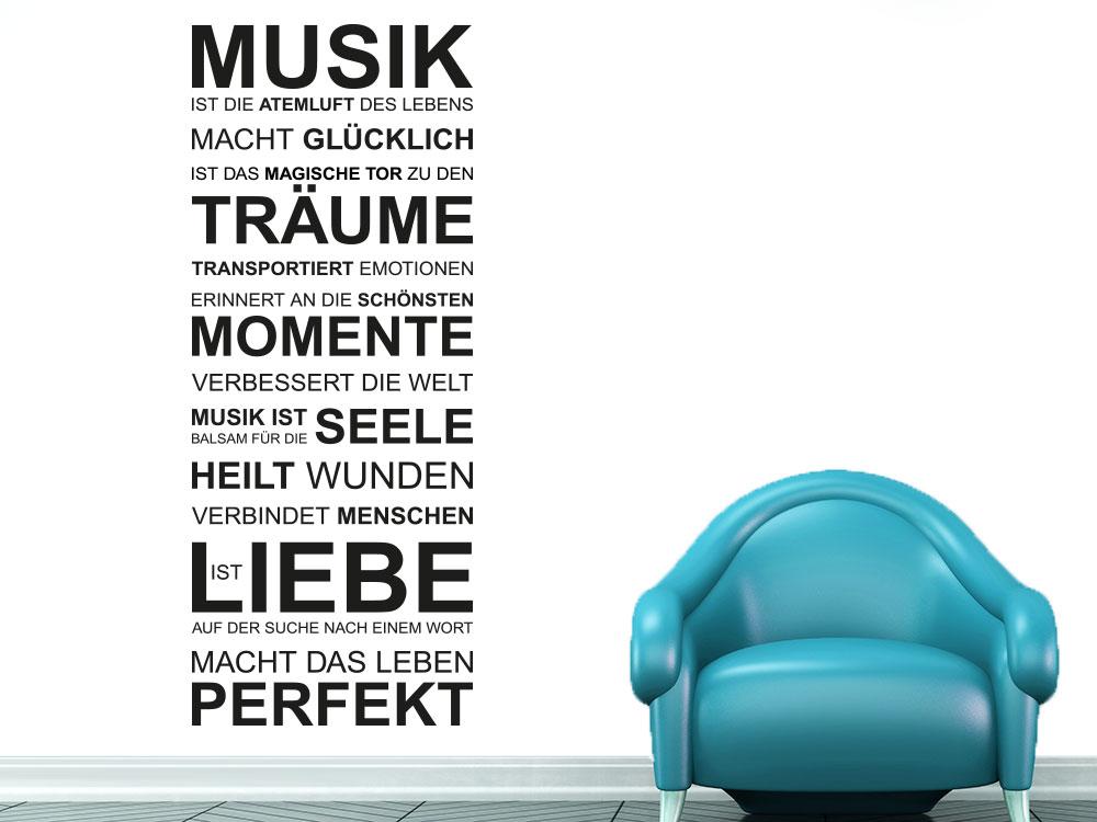Wandtattoo Musik ist die Atemluft des Lebens auf heller Wand in Schwarz