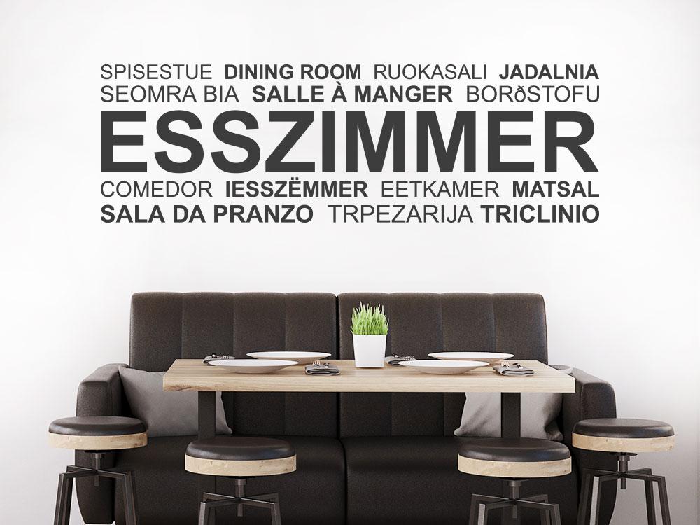 Wandtattoo Esszimmer Wortwolke mehrsprachig Querformat über Tisch