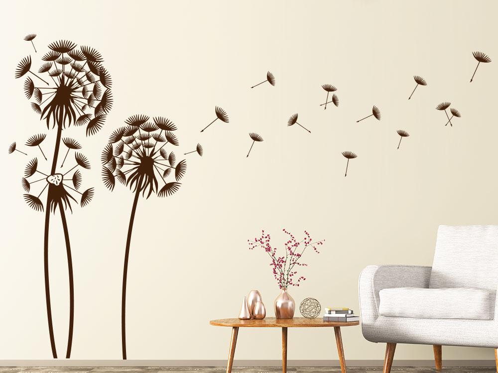 Wandtattoo Pusteblumen Landschaft Farbe Braun im Wohnzimmer