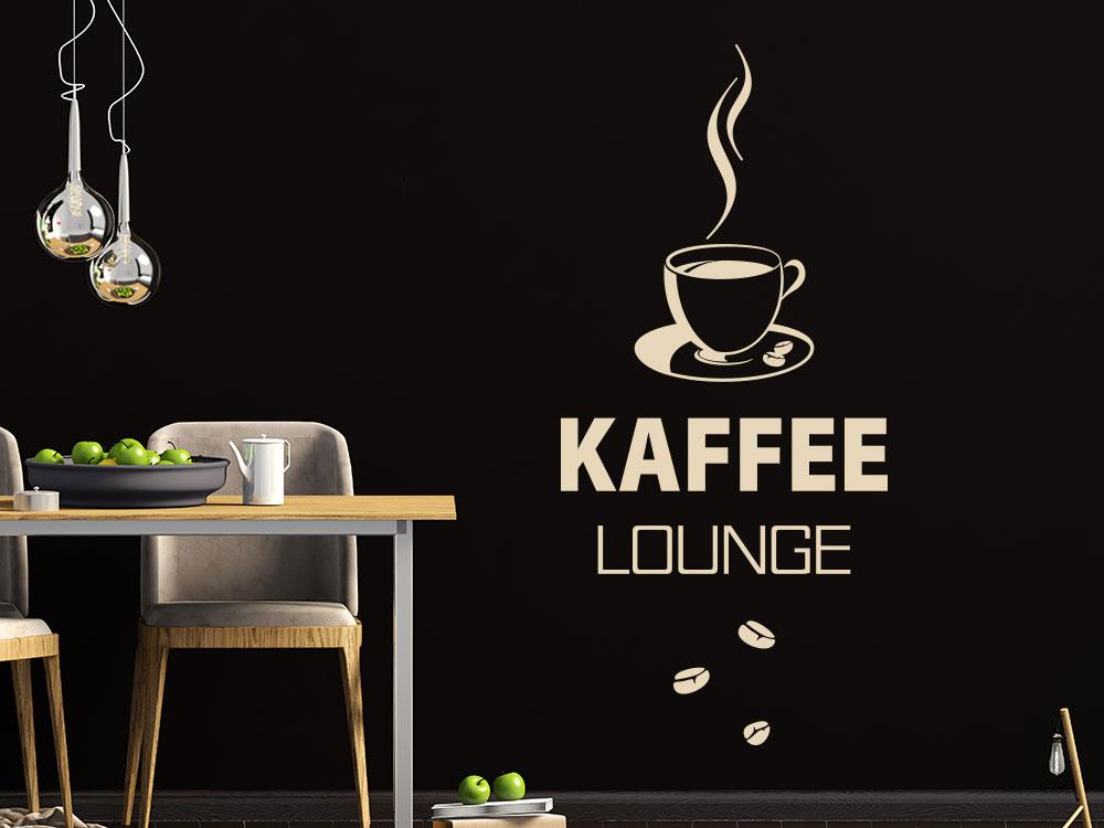Wandtattoo Kaffee Lounge mit Kaffeetasse und Kaffeebohnen