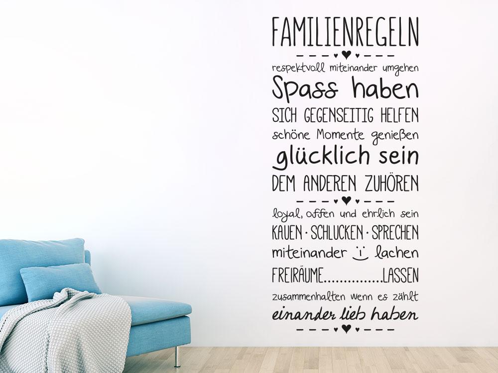 Wandtattoo Familienregeln Banner in schwarz