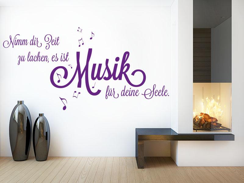 Wandtattoo im Wohnzimmer - Nimm dir Zeit zu lachen, es ist Musik für deine Seele.