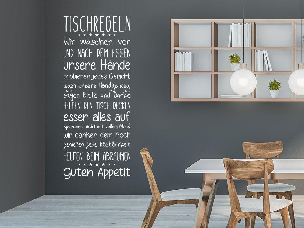Wandtattoo Tischregeln Wandbanner im Esszimmer neben Holztisch