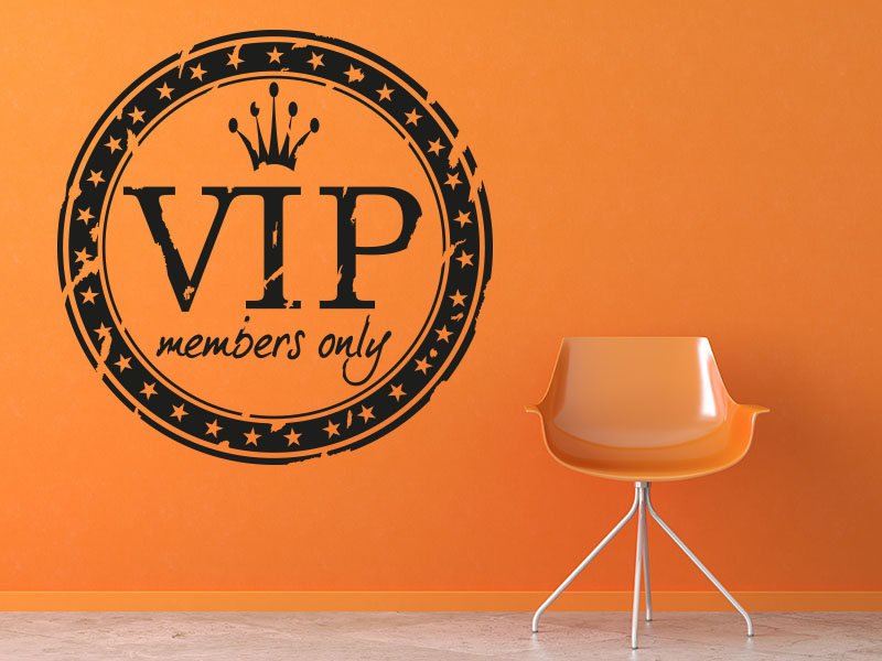 Wandtattoo Retro Button VIP members only
