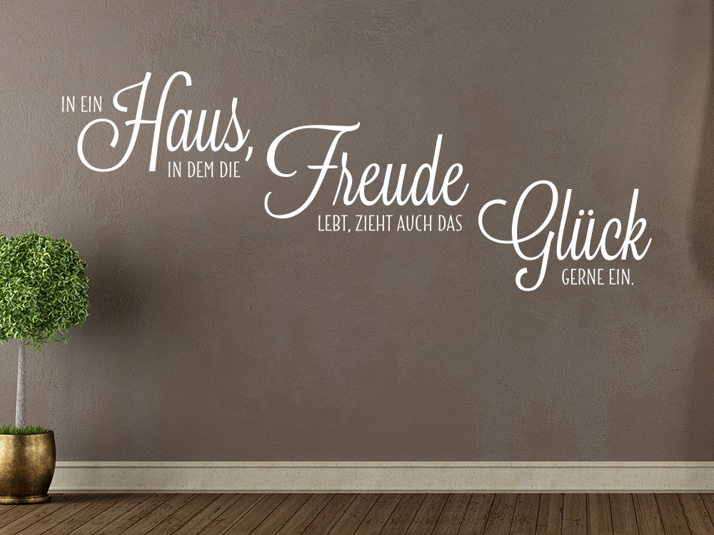 Wandtattoo In Ein Haus In Dem Die Freude Lebt Als Moderner Wandspruch Im  Flur