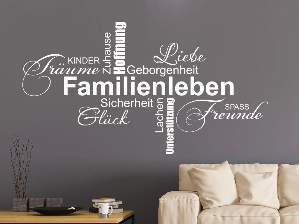 Wandtattoo Familienleben Wortwolke im Wohnzimmer auf dunkler Wand