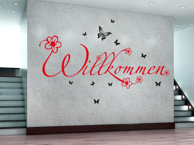 Wandtattoo Herzlich Willkommen mit Blüten und Schmetterlingen. - zweifarbig - No.2