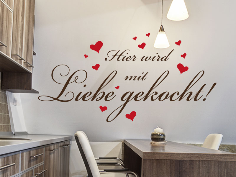 wandtattoo spruch hier wird mit liebe gekocht. Black Bedroom Furniture Sets. Home Design Ideas