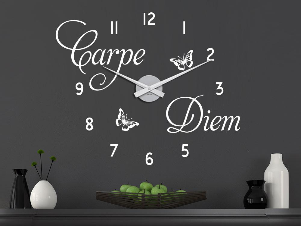 Carpe Diem Wandtattoo Uhr
