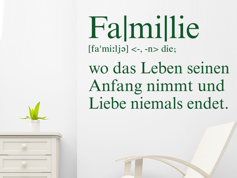 wandtattoo familie definition. Black Bedroom Furniture Sets. Home Design Ideas