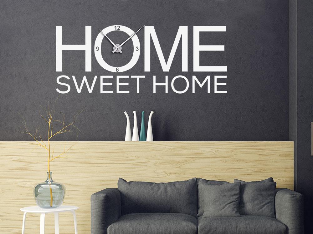 Moderne Home sweet Home Wandtattoo Uhr mit Uhrwerk