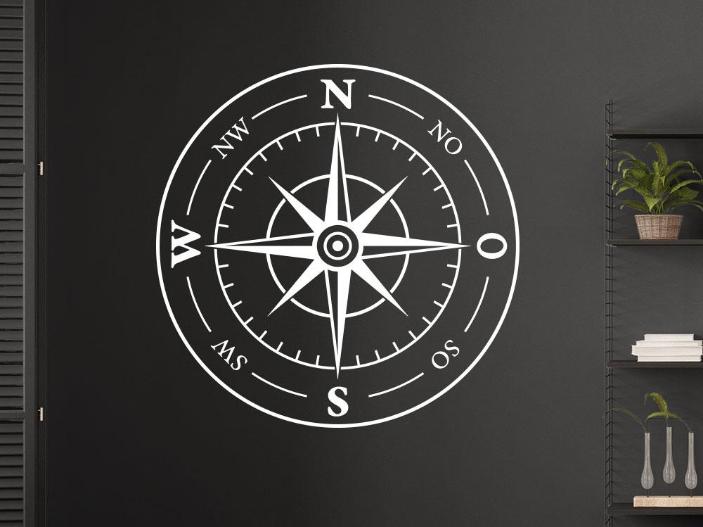 Wandtattoo Kompass Windrose auf dunkler Wand