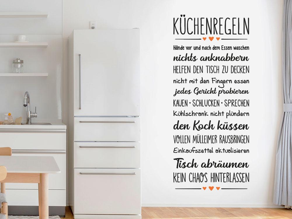 Wandtattoo Küchenregeln zweifarbig auf Küchenwand