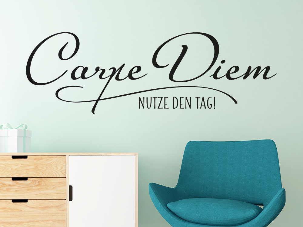 wandtattoo carpe diem nutze den tag von klebeheld de. Black Bedroom Furniture Sets. Home Design Ideas