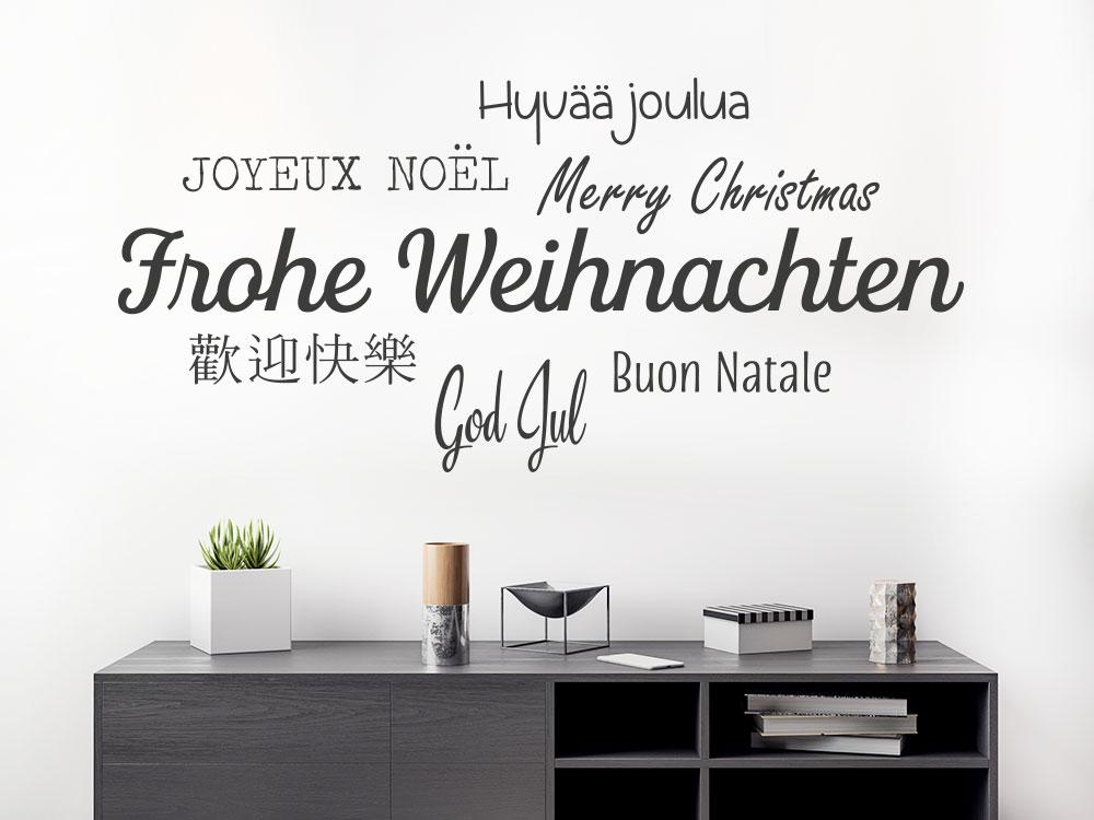 Frohe Weihnachten Wandtattoo in mehreren Sprachen