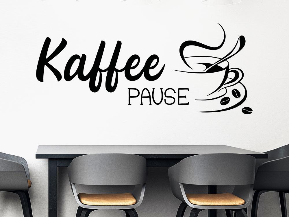 Kaffeepause Wandtattoo in schwarz