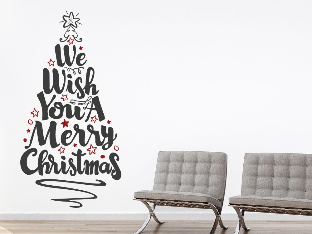 Wandtattoo Merry Christmas Weihnachtsbaum in dunkelgrau mit dunkelroten Sternen