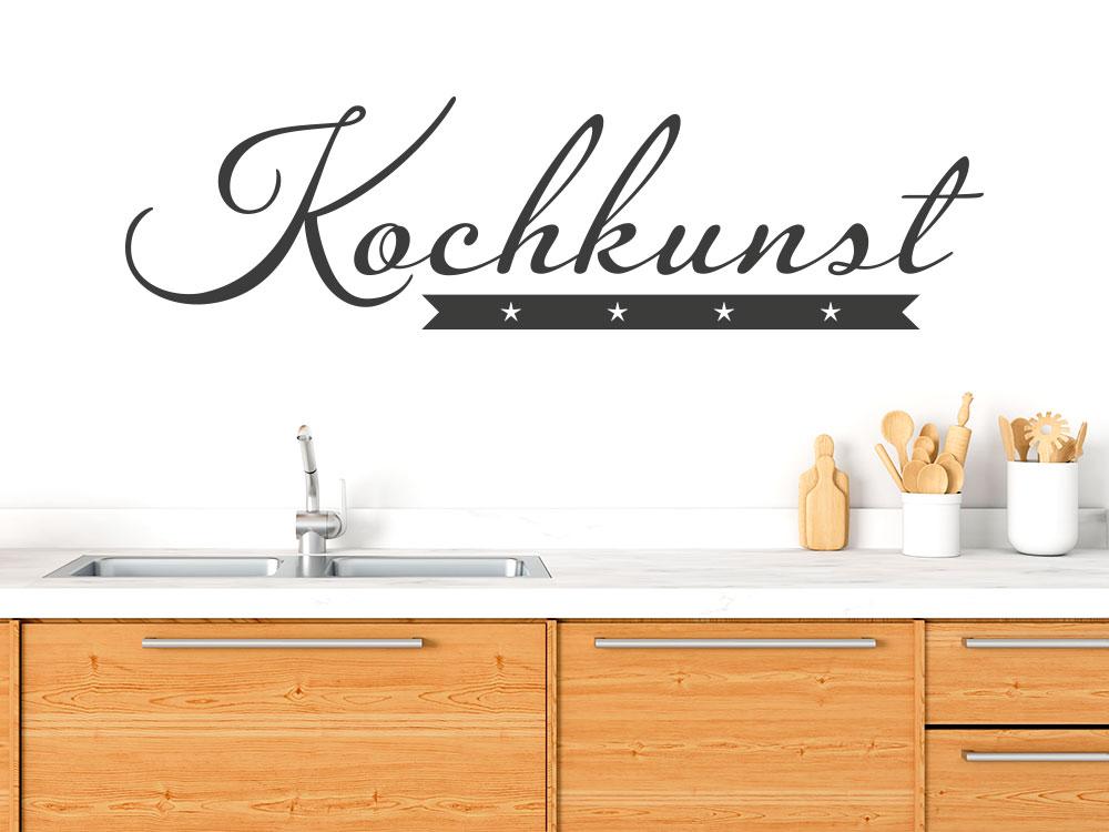 Kochkunst Wandtattoo über Küchenblock