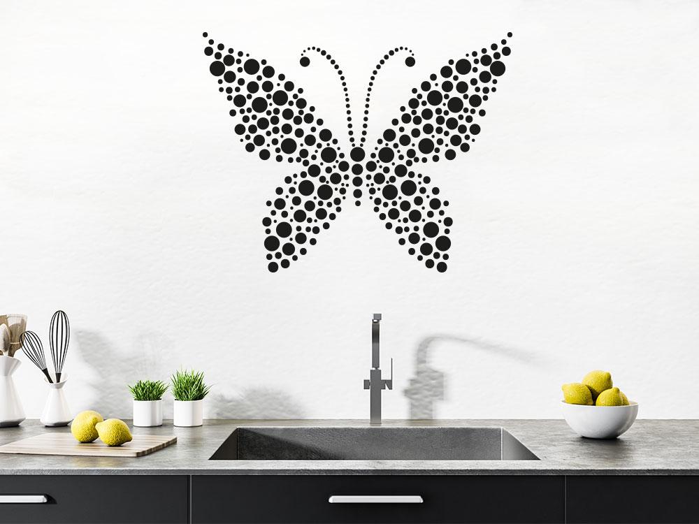Wandtattoo Ornament Schmetterling Paus Punkten