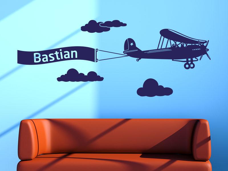 Wandtattoo Flugzeug mit Wunschname
