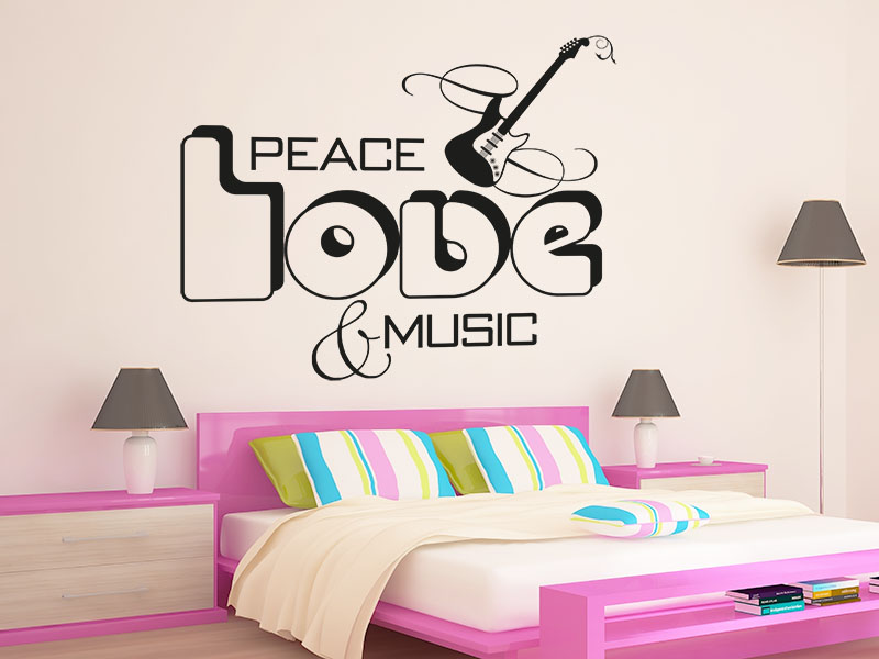 Wandtattoo Peace Love Music