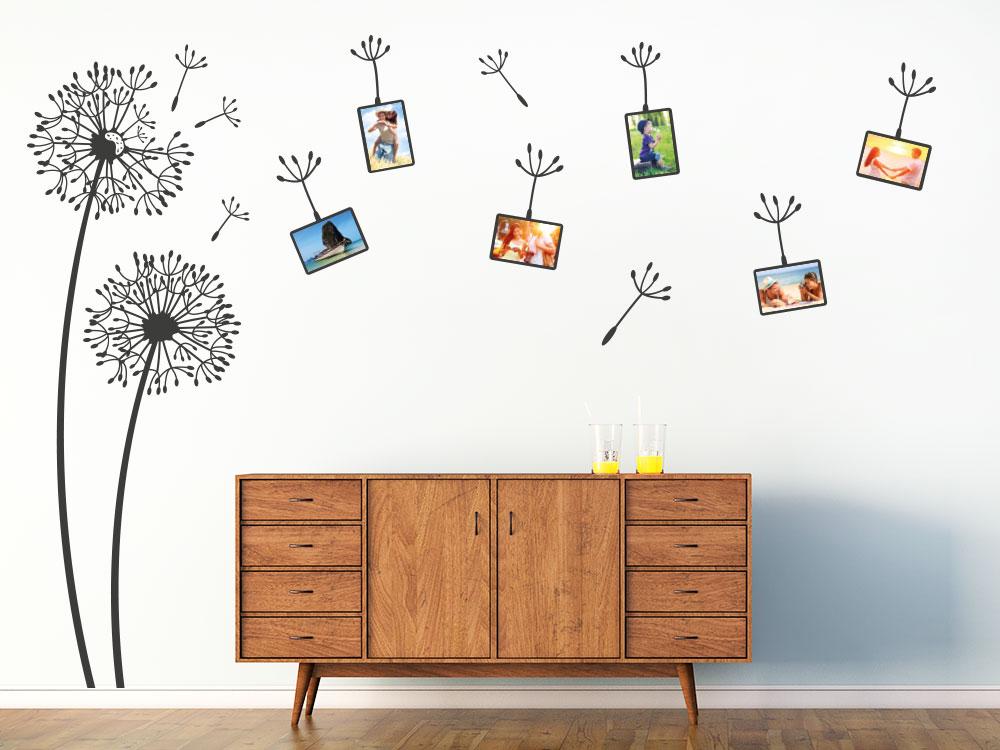 Wandtattoo Fotorahmen Pusteblumen Wohnzimmer