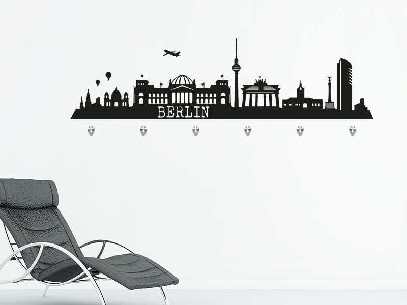 Skyline Berlin als Wandtattoo Garderobe