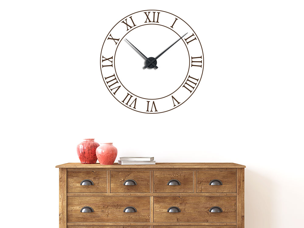 Wandtattoo Uhr altrömische Zahlen / Ziffern im Wohnzimmer