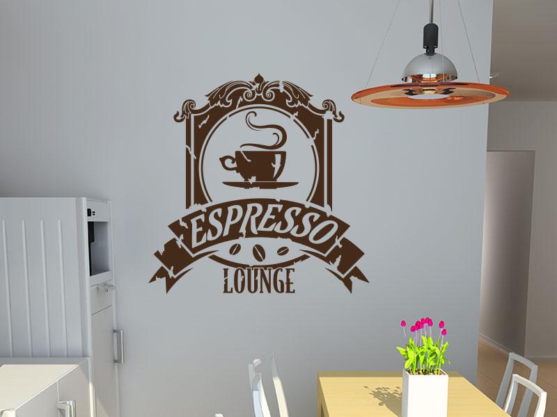 Wandtattoo Retro Button Espresso Lounge
