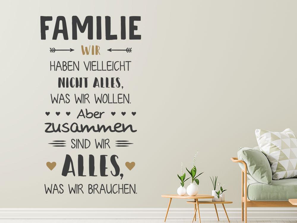 Wandtattoo Familie Zusammen sind wir