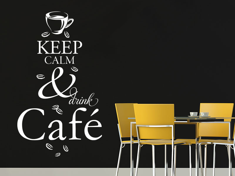 Wandtattoo Keep calm and drink café