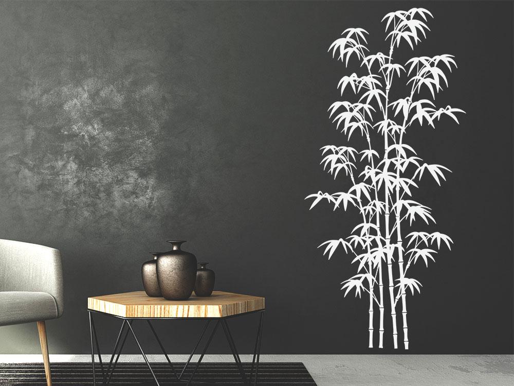 Wandtattoo Bambus Deko im Wohnzimmer in der Farbe Weiß