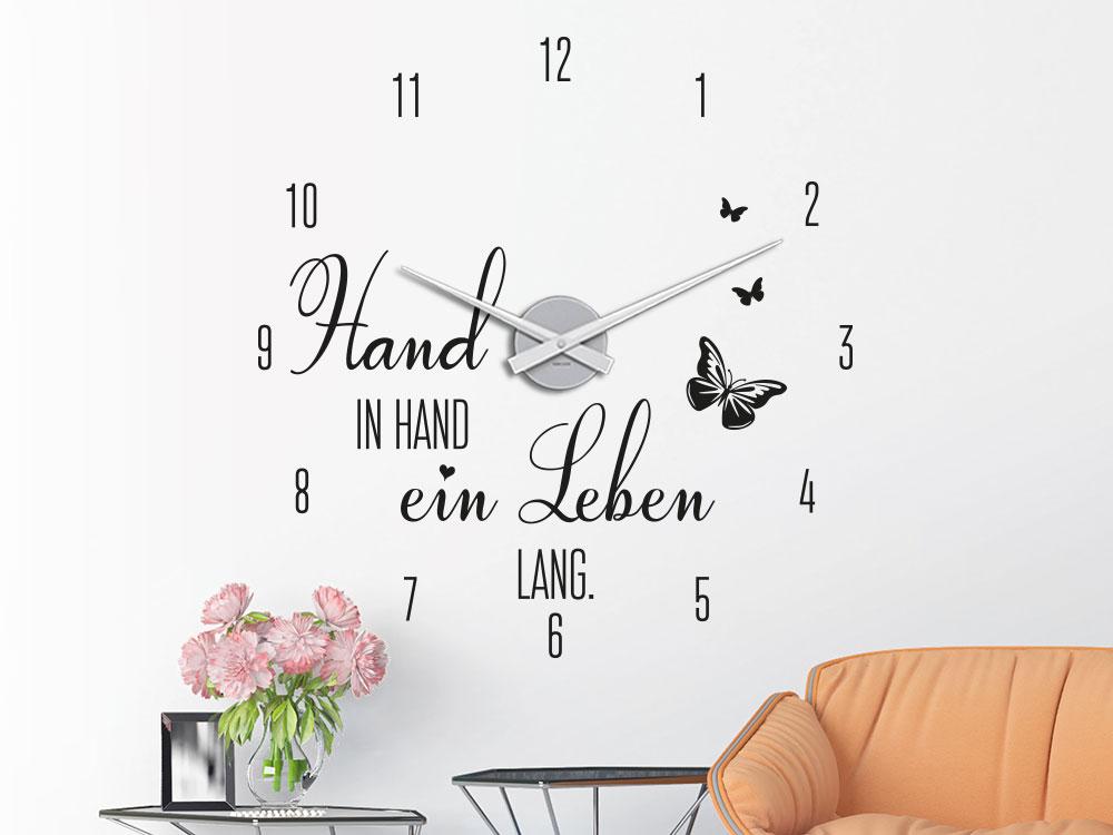Wandtattoo Uhr Hand in Hand helle Wand