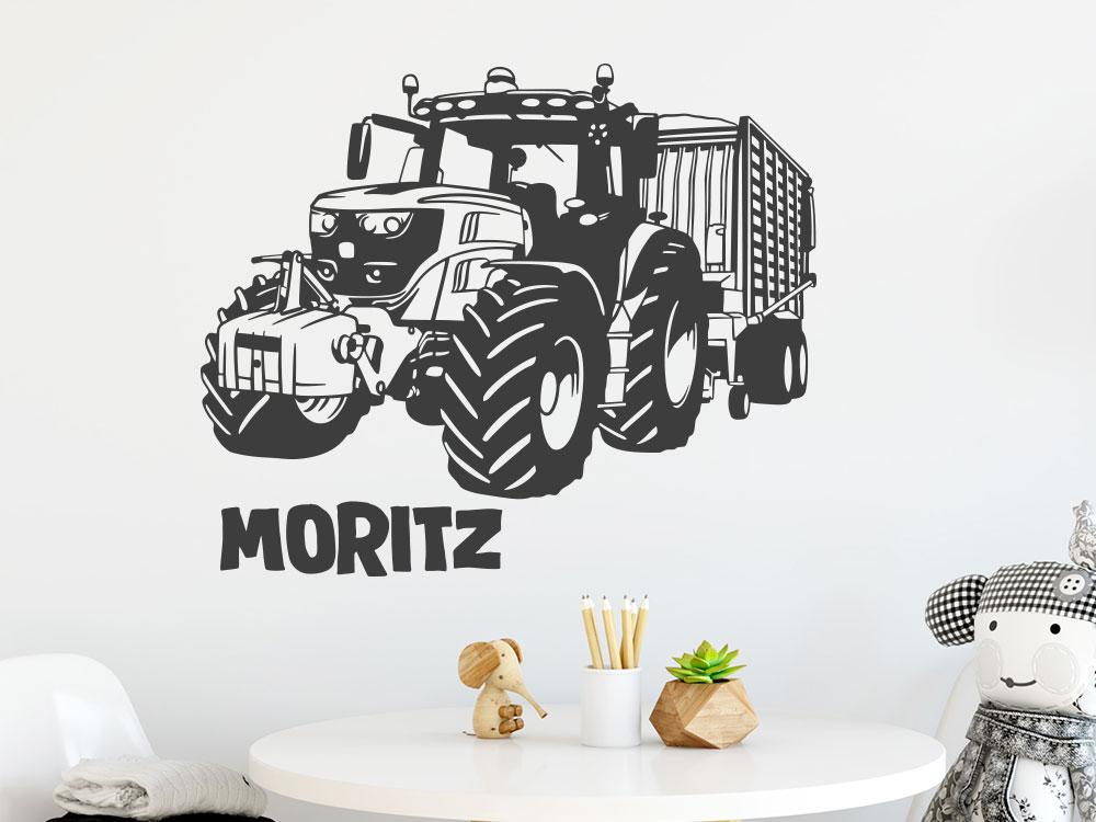 Wandtattoo Traktor mit Anhänger