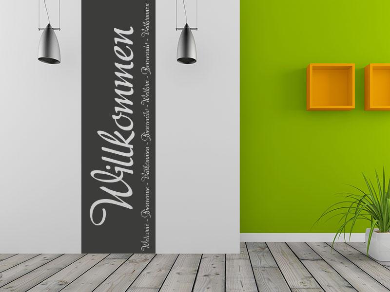 Wandtattoo Willkommen Banner im Hausflur