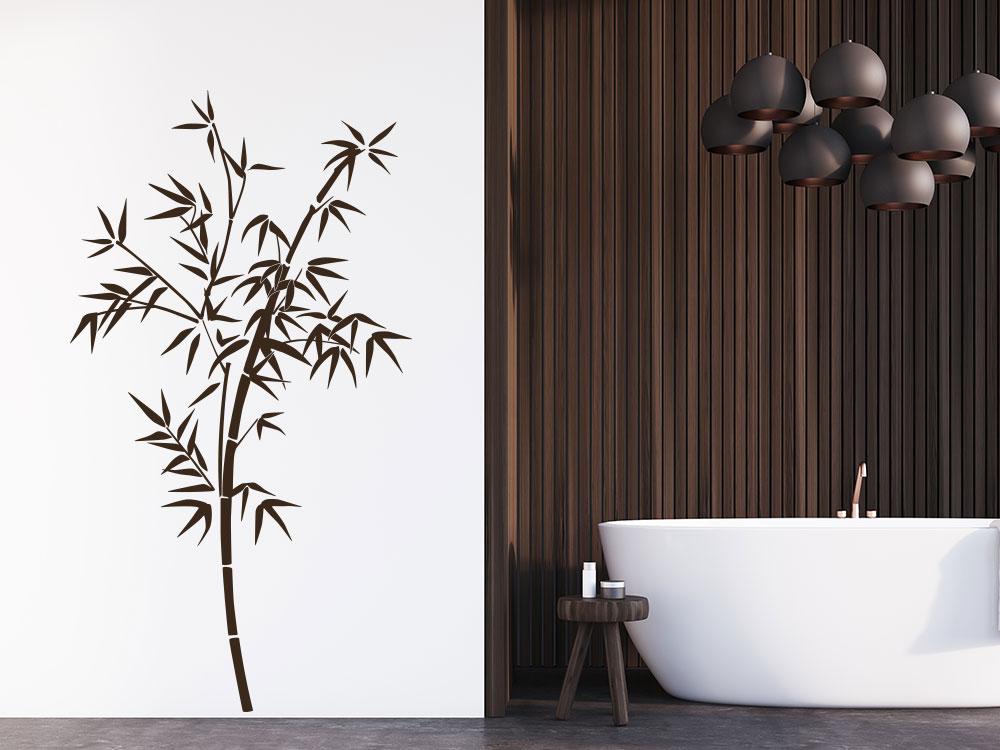 Wandtattoo Bambus Deko auf heller Wand im Bad