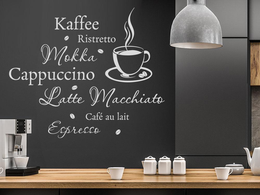Wandtattoo Kaffee mit Tasse in Küche