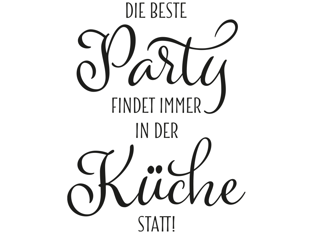 Wandtattoo Party Küche | Küchenparty | KLEBEHELD®.de