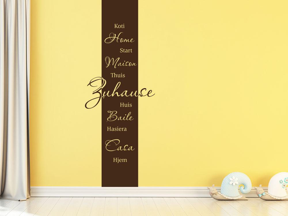 Wandtattoo Banner Zuhause Sprachen im Wohnzimmer in braun