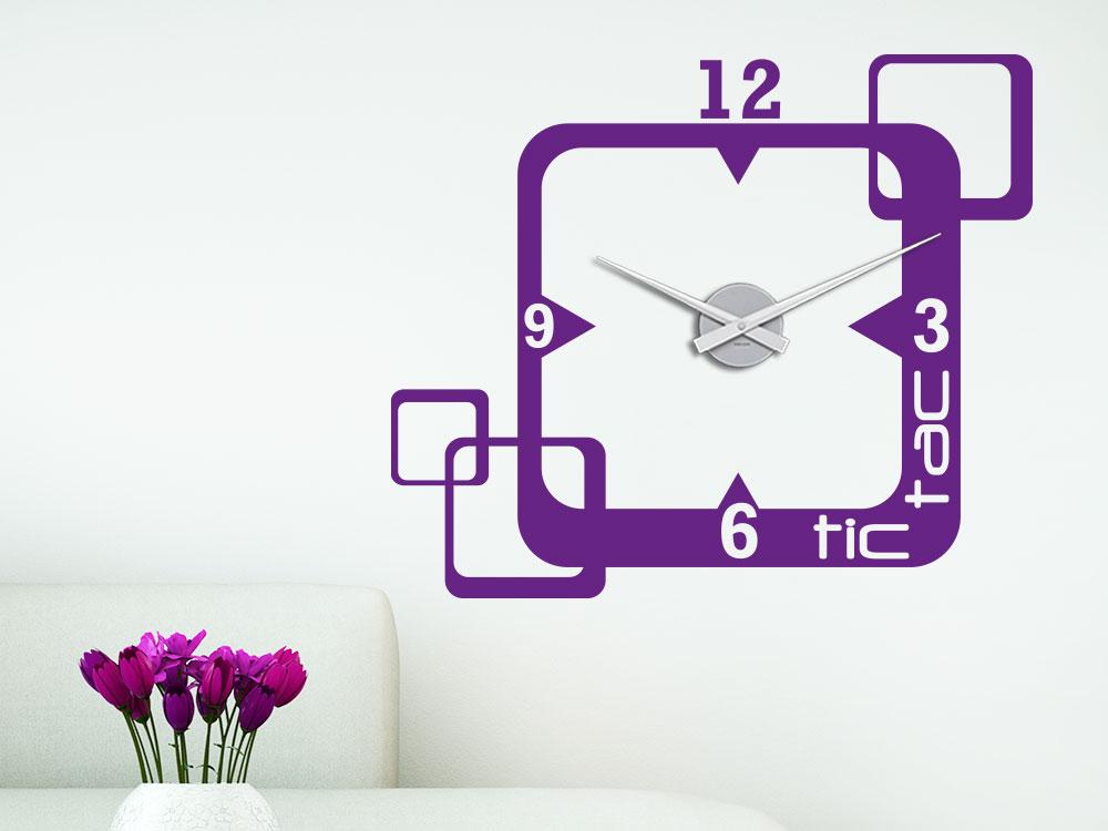 Wandtattoo Uhr tic tac Retro Dekoration auf heller Wand