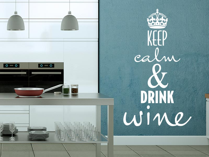 Wandtattoo - Keep calm and drink wine No-02