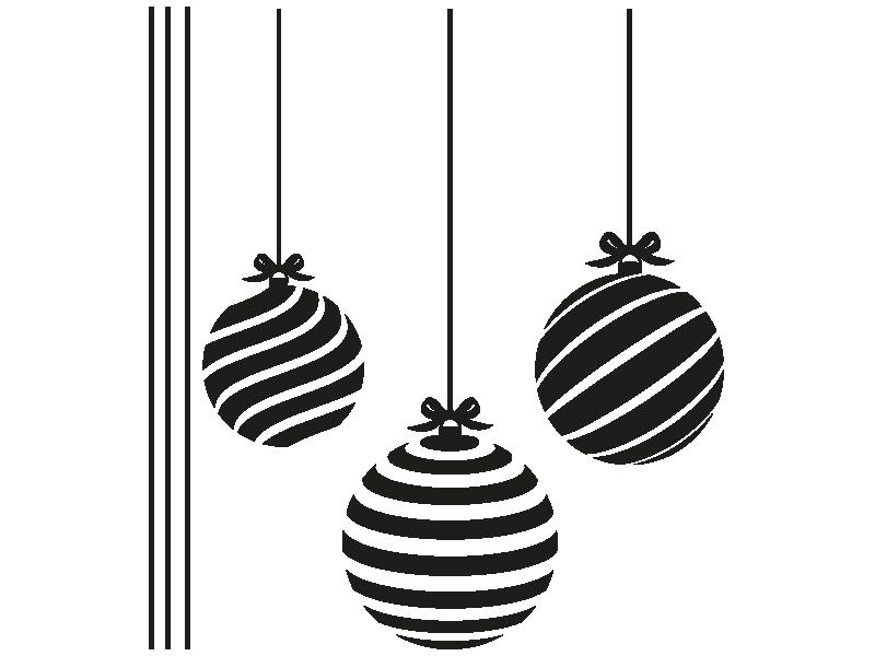 wandtattoo weihnachtskugeln mit streifen. Black Bedroom Furniture Sets. Home Design Ideas