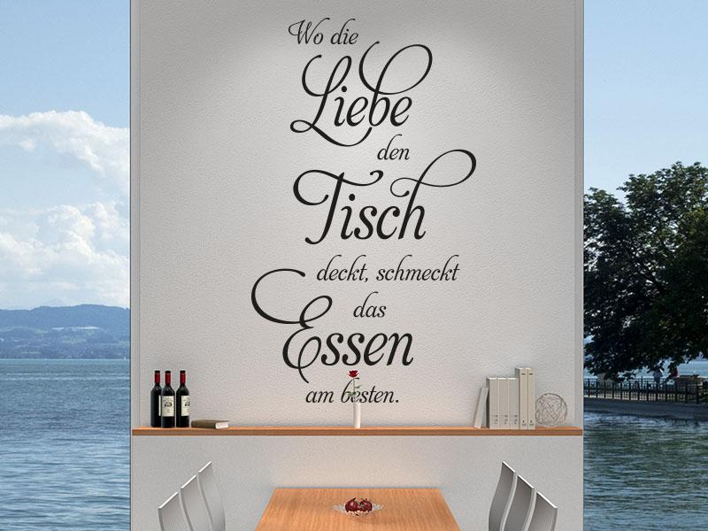 Wandtattoo Spruch Wo die Liebe den Tisch deckt... Küchenbereich