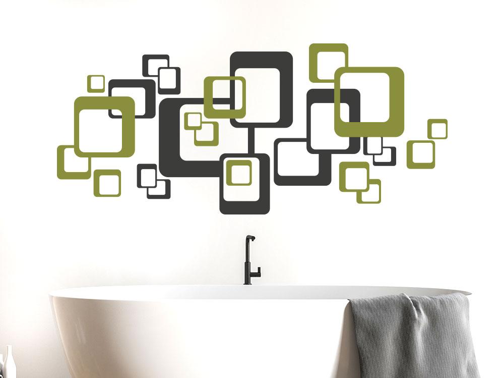Wandtattoo Zweifarbige Retro Quadrate im Badezimmer