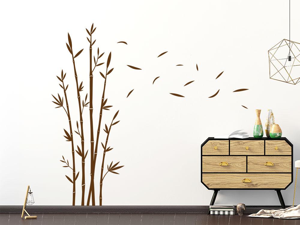 Wandtattoo Bambus im Wind auf heller Wohnzimmerwand