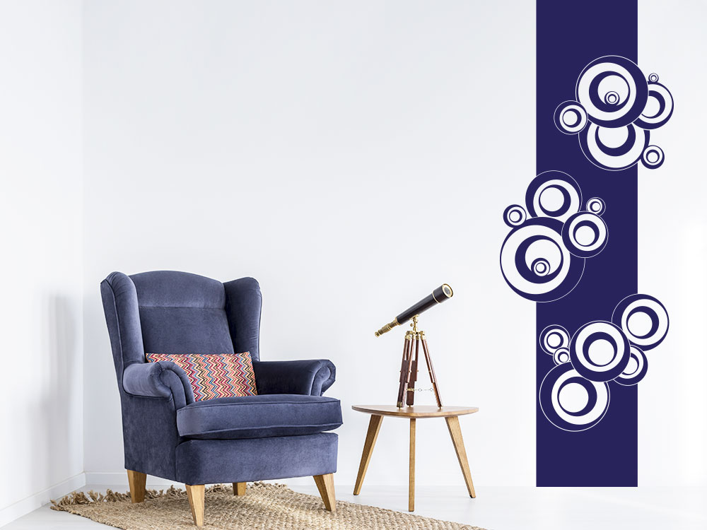 Wandbanner Retro Dots Kreise Wandtattoo im Wohnzimmer