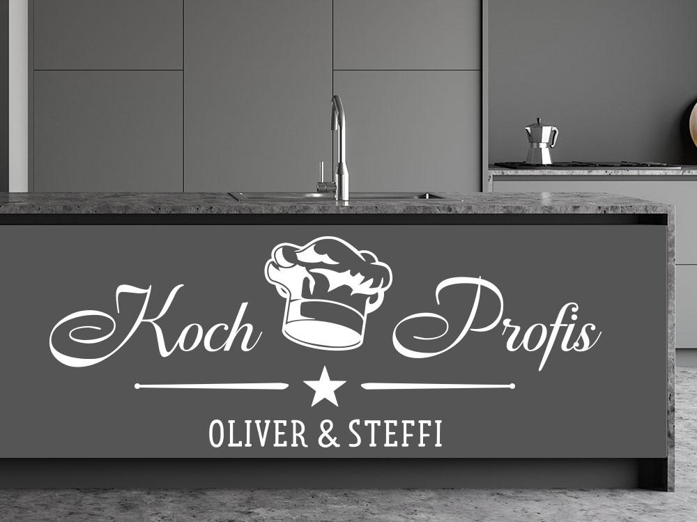 Wandtattoo Kochprofis mit Name un Kochmütze auf einem Küchenblock