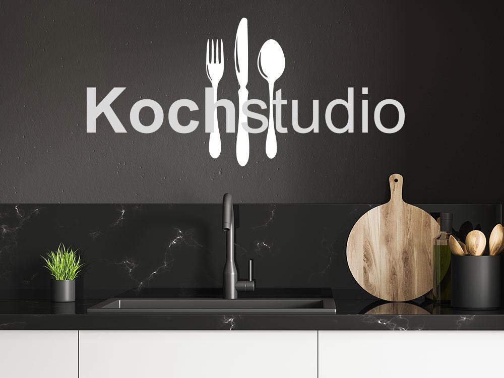 Wandtattoo Kochstudio zweifarbig mit Besteck