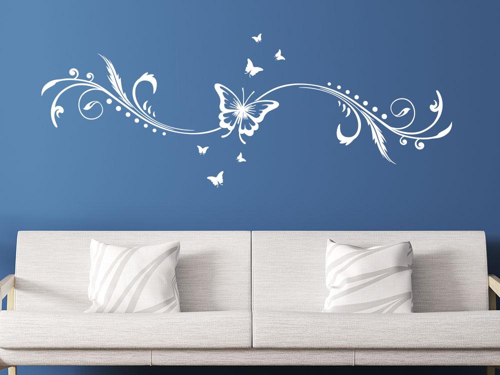 Schmetterling Wandtattoo Ornament in der Farbe Weiß